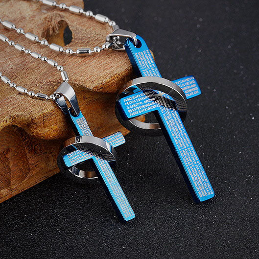 Simple Titanium Steel Cricle and Cross Couple Necklaces