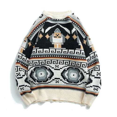 Traditional Pattern Printed Round Neck Men Casual Sweater