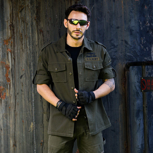 Outdoor Long Sleeve Solid Color Army Cotton Shirt