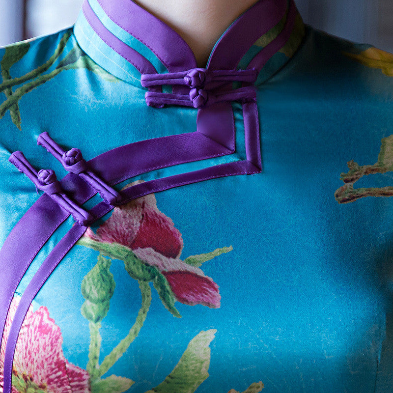 Amazing Flowers Printed Short Sleeves Silk Blue Long Cheongsam - KINGEOUS