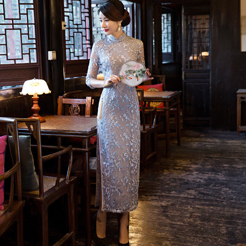 Light Purple Lace Embroidery Long Cheongsam Dress - KINGEOUS