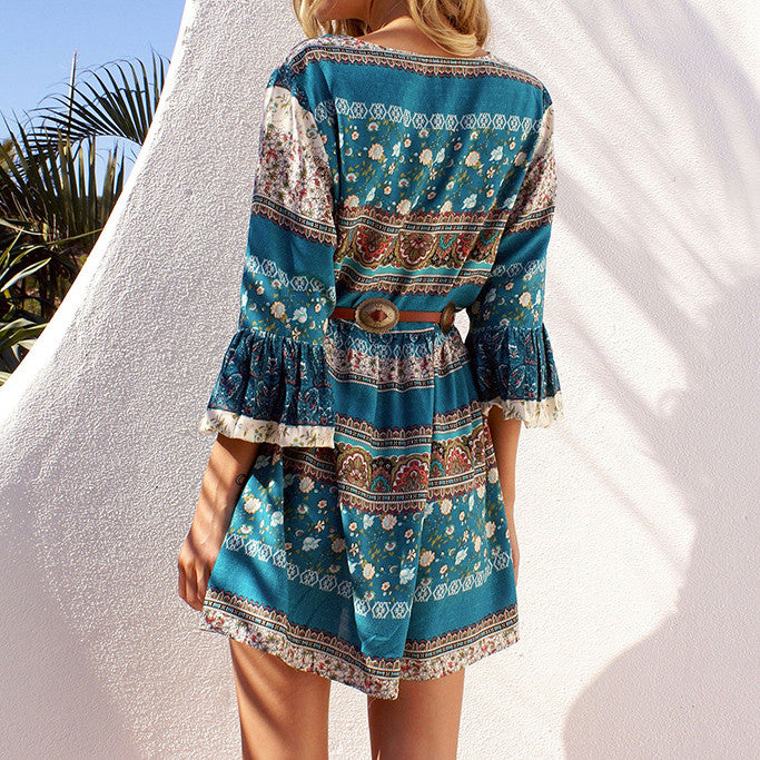 Bohemian Florals Printed Trumpet Sleeve Beach Short Dress - KINGEOUS