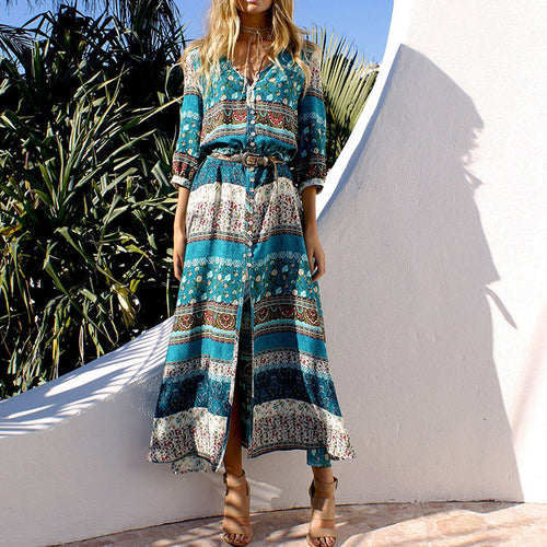 Boho Pattern Printed V-neck Beach Maxi Dress - KINGEOUS