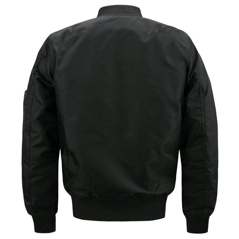 Solid Color Stand Collar Slim Men's Flight Jacket