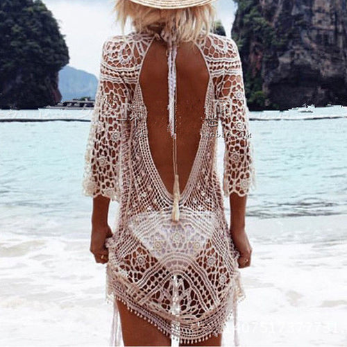 Handmade Hollow Lace Backless Beach Short Dress - KINGEOUS
