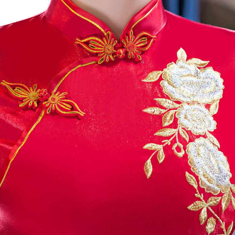 Phoenix Embroidery Cap Sleeve Red Polyester Long Cheongsam - KINGEOUS