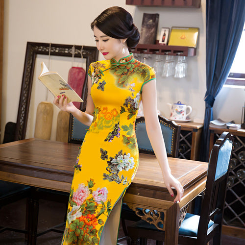 Retro Flowers Printed Cap Sleeve Silk Long Cheongsam(3 Colors)