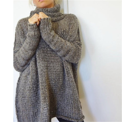 Casual Solid Color Turtle Neck Women's Sweater - KINGEOUS