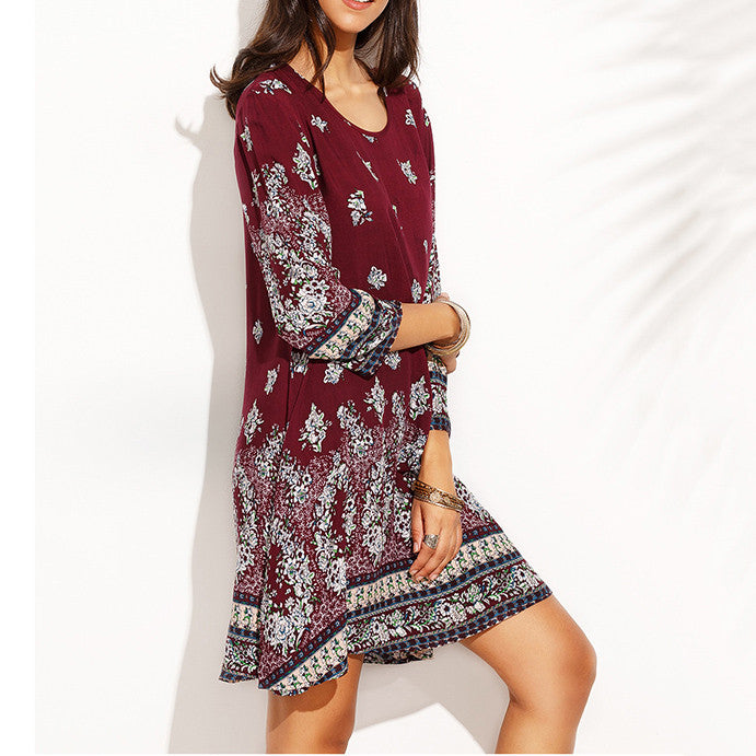 Boho Florals Printed Round Neck Loose Dress(2 Colors) - KINGEOUS