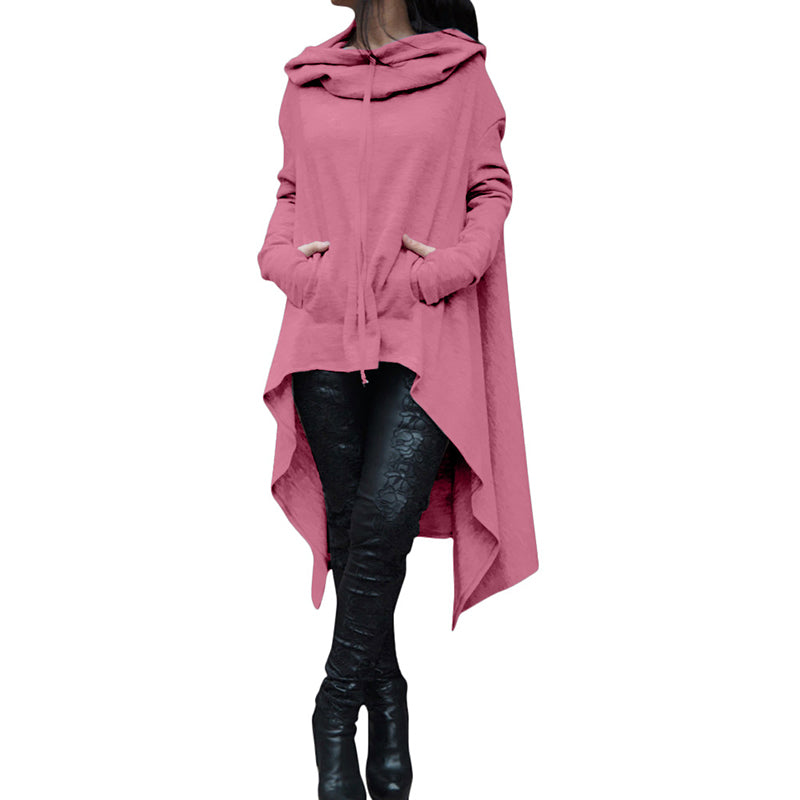 Casual Solid Color Irregular Hem Loose Women's Hoodie - KINGEOUS