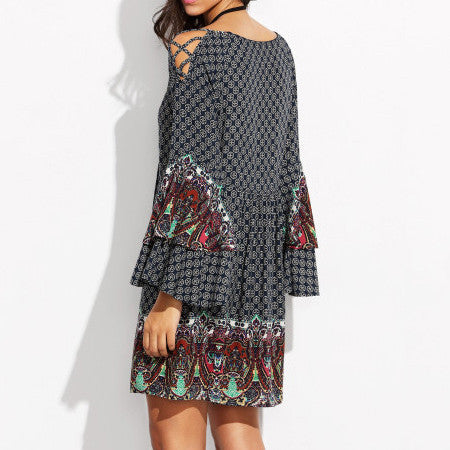 Boho Printed Off Shoulder Trumpet Sleeve Loose Short Dress - KINGEOUS