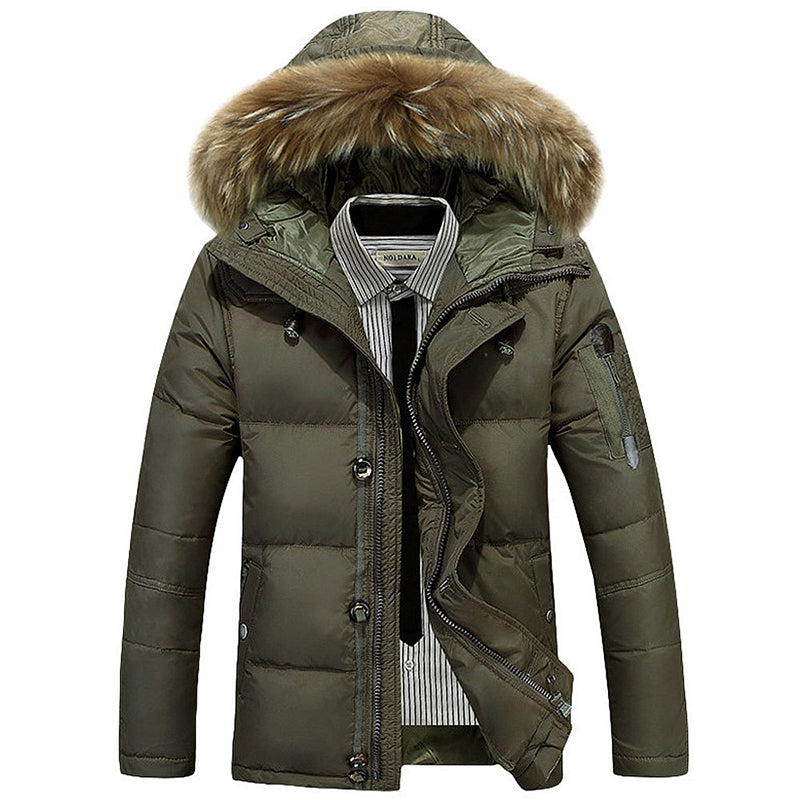 Outdoor Leisure Thick Fur Collar Men's Down Jacket