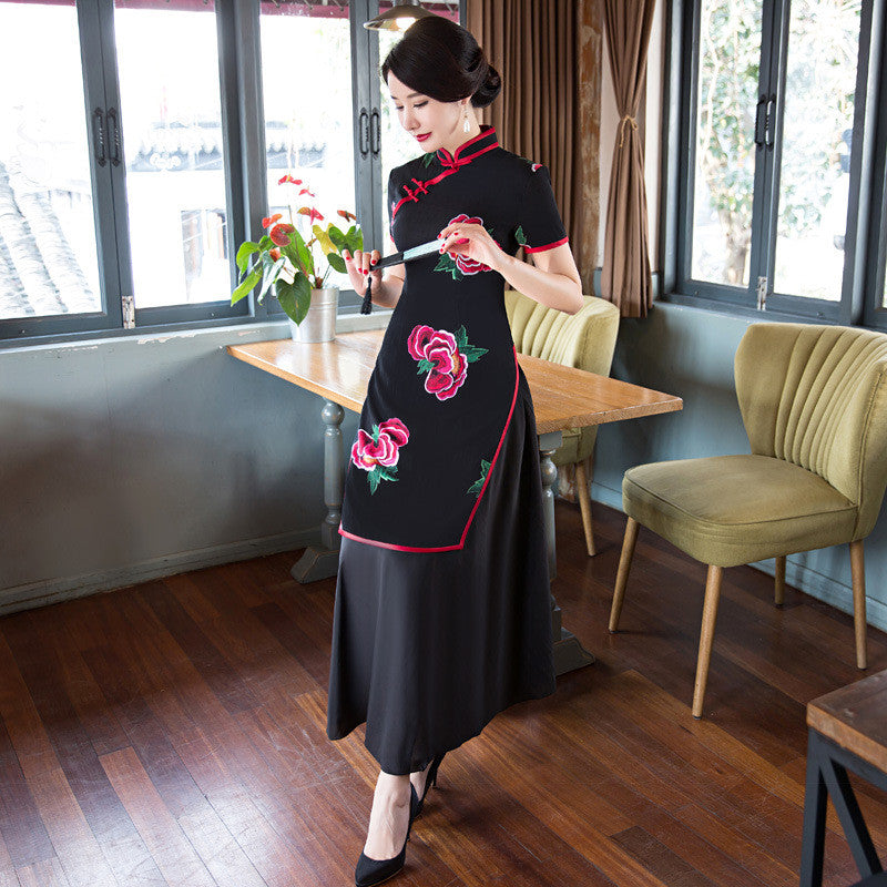Flowers Printed Short Sleeve Slim Black Ao Dai - KINGEOUS
