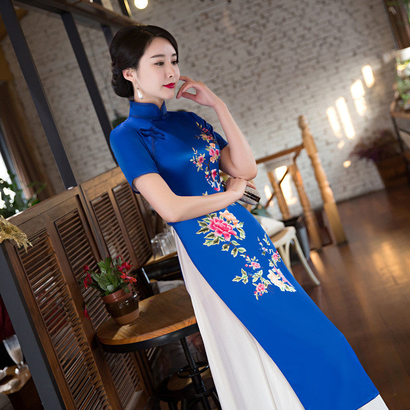 Flowers Printed Band Collar Two-Pieces Set Blue Ao Dai Dress - KINGEOUS