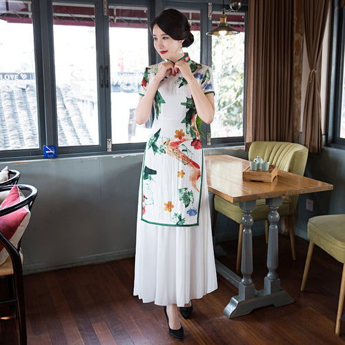 Exquisite Printed Short Sleeve Band Collar Slim White Ao Dai - KINGEOUS