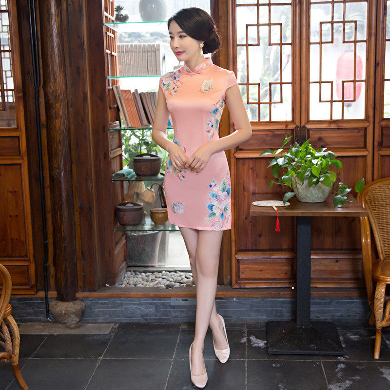 Pink Slim Flowers Printed Short Cheongsam Dress - KINGEOUS
