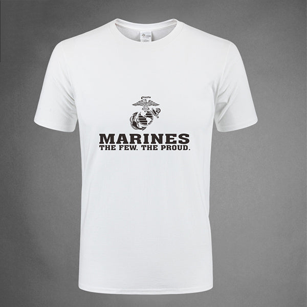Marine Corps Print Cotton Round Neck Tactical T-shirt