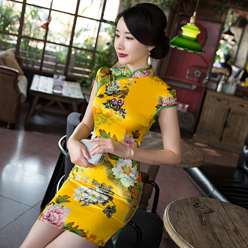 Pretty Flowers Printed Cap Sleeve Polyester Silk Short Cheongsam - KINGEOUS