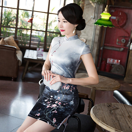 Smart Plum Printed Cap Sleeve Polyester Silk Short Cheongsam