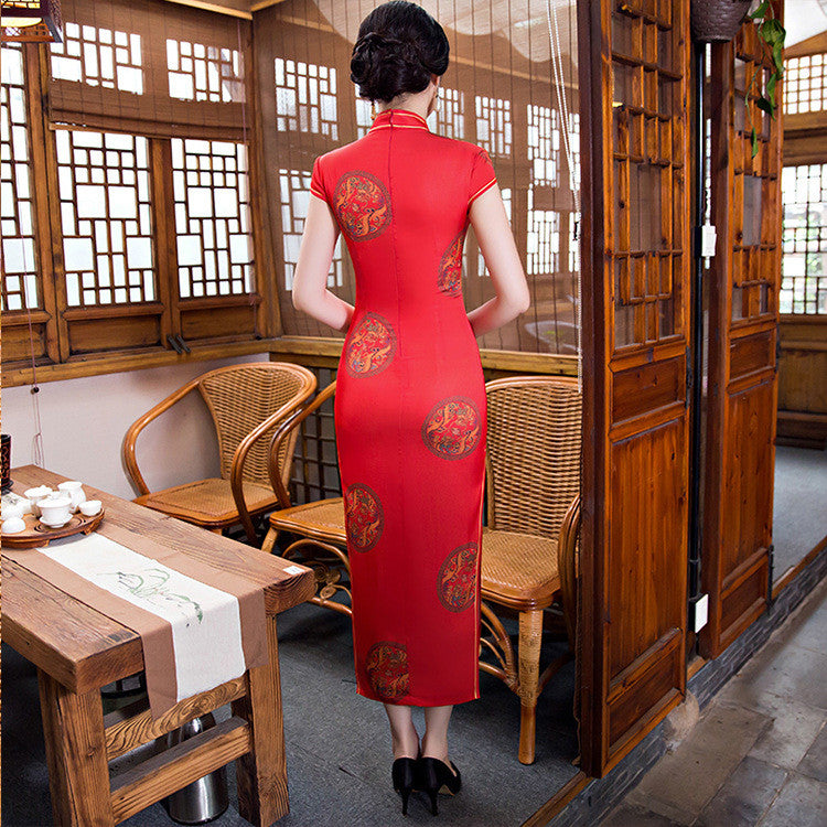Perfect Printed Red Silk Long Cheongsam Dress - KINGEOUS