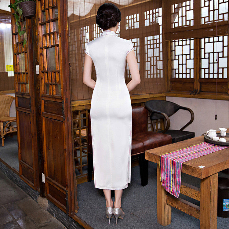Flowers Printed Slim Silk White Long Cheongsam Dress - KINGEOUS