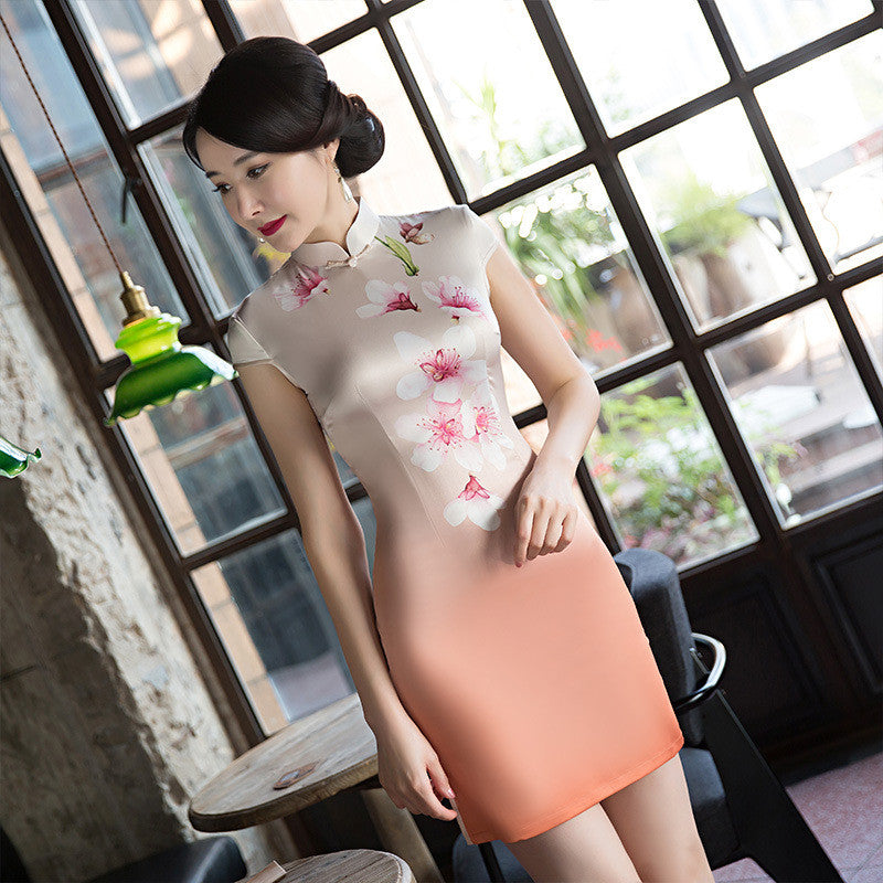 Daily Slim Flowers Printed Cap Sleeve Silk Short Cheongsam - KINGEOUS