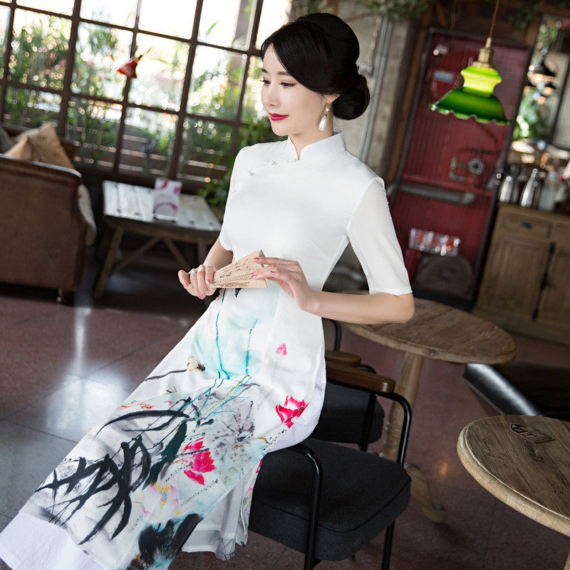 Flowers Printed Slim Half Sleeve Band Collar Ao Dai - KINGEOUS