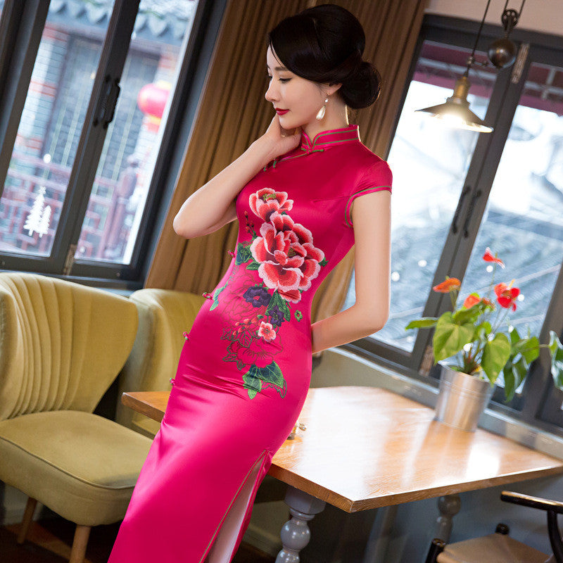 Perfect Flowers Printed Cap Sleeve Polyester Rose Long Cheongsam - KINGEOUS