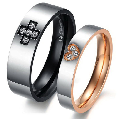 CZ Inlaid Cross Heart Stainless Steel Couple Rings - KINGEOUS