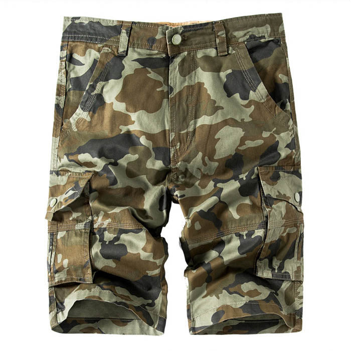 Casual Camo Multi-bag Straight  Men's Cargo Shorts - KINGEOUS