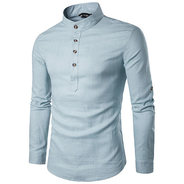 Stand Collar Linen Solid Color Long Sleeve Men's T-shirt
