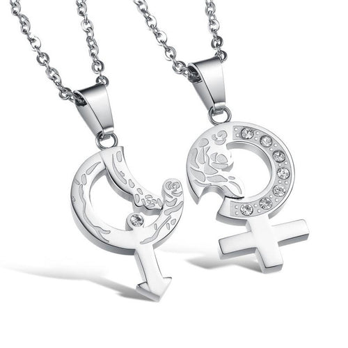 Sex Symbol Shape CZ Inlaid Stainless Steel Couple Necklaces