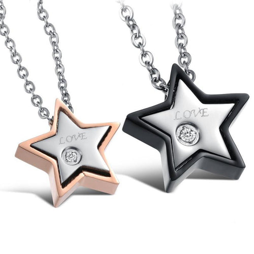 Love Star Shape Stainless Steel CZ Inlaid Couple Necklaces