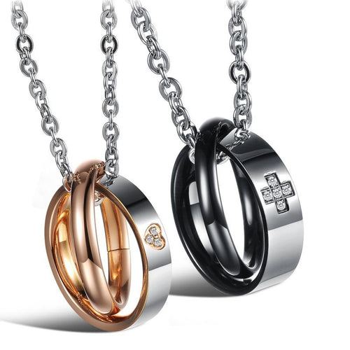 Cross and Heart Pattern Circles Stainless Steel Couple Necklaces - KINGEOUS