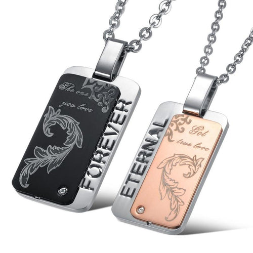 Cool Forever The One You Love Stainless Steel Couple Necklaces - KINGEOUS