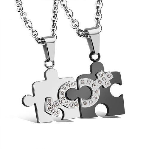 Exquisite Puzzle Shape Stainless Steel Couple Necklaces - KINGEOUS