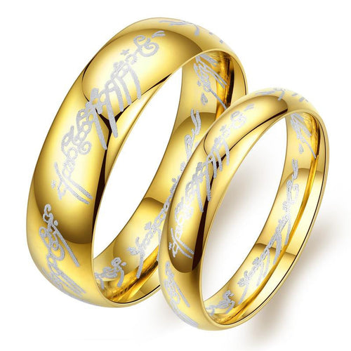 The Lord of the Rings Gold-plated Stainless Steel Couple Rings