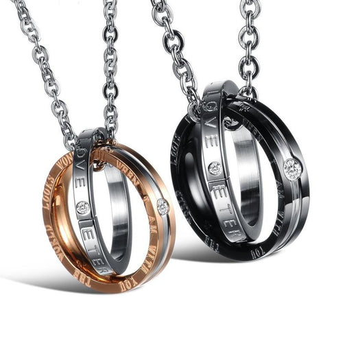 The World Looks Wonderful When I Can With You Stainless Steel Couple Necklaces