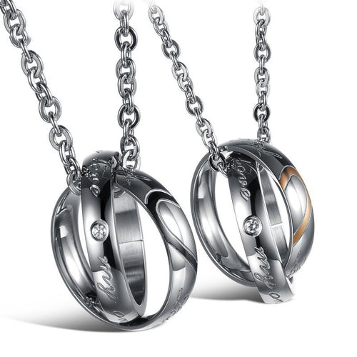 Real Love My Only Love Shinning Crystal Drill Stainless Steel Couple Necklaces