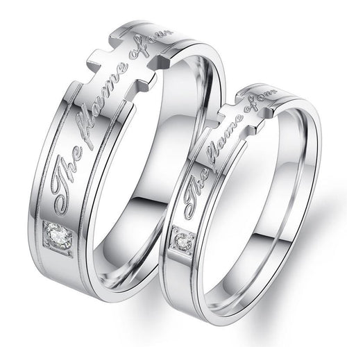The Flame of Our CZ Inlaid Stainless Steel Couple Rings