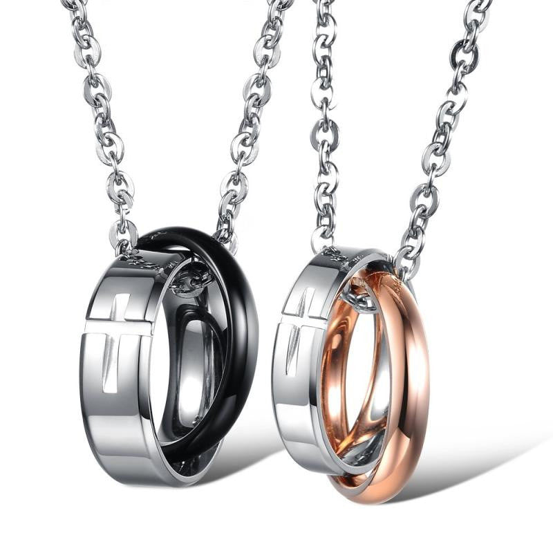 Classical Cross Pattern Stainless Steel Couple Necklaces - KINGEOUS