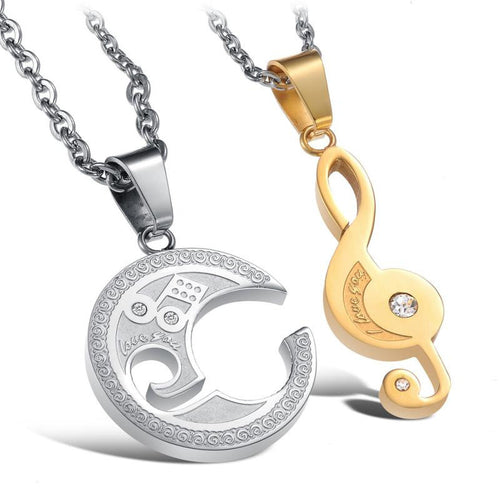 Romantic White and Gold Music Note Shape Stainless Steel Couple Necklaces