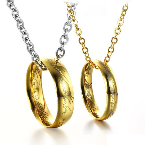 Magical The Lord of the Rings Tungsten Steel Plating Couple's Necklaces