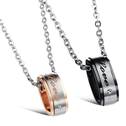 Love CZ Inlaid Plating Stainless Steel Couple Necklaces - KINGEOUS