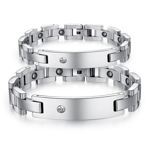 Healthy Lodestone Stainless Steel CZ Inlaid Couple Bracelets - KINGEOUS