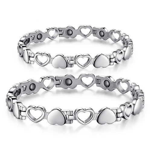 Hollow Heart Shape Stainless Steel Lodestone Couple Bracelets - KINGEOUS