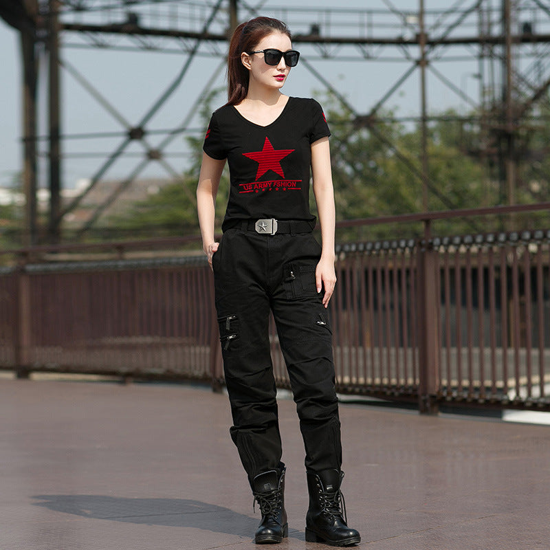 Elastic Black V-neck Star Printed Women T-shirt - KINGEOUS