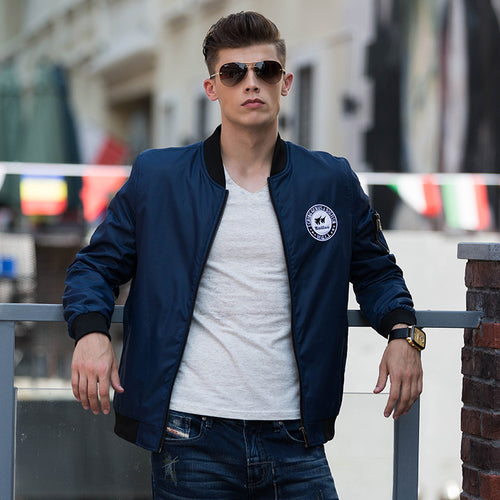 Casual Stand Collar Logo Embroidery Slim Men's Flight Jacket - KINGEOUS