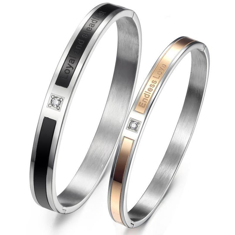 Loyal and Steadfast Endless Love Stainless Steel Couple Bracelets