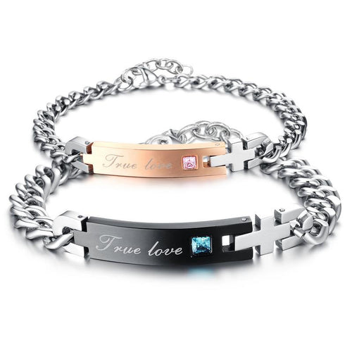Ture Love CZ Inlaid Cross Stainless Steel Couple Bracelets